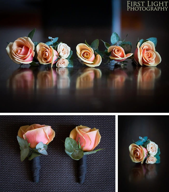 buttonholes/ bouttonieres in orange/ peach with roses and eucalyptus