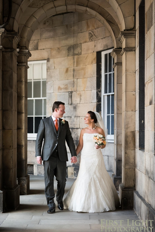 Bride and groom portrait at Signet Library wedding
