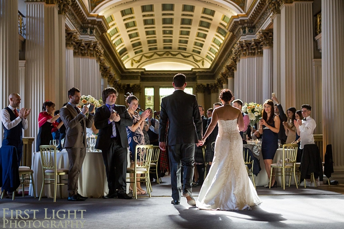 entrance of bride and groom to Wedding breakfast in Signet Library upper library
