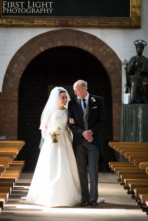 Bride and her father at St Peters Catholic Church Edinburgh
