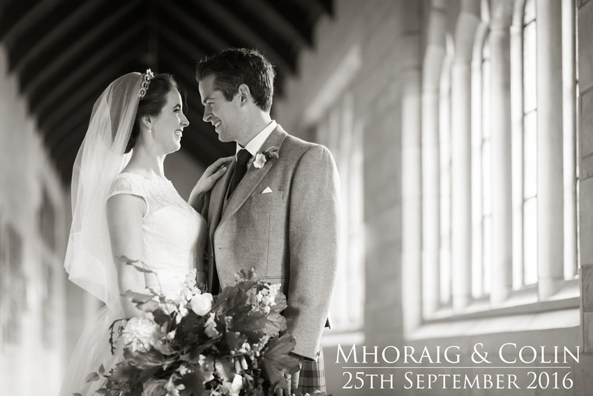 Wedding couple, wedding flowers, Scottish autumn wedding