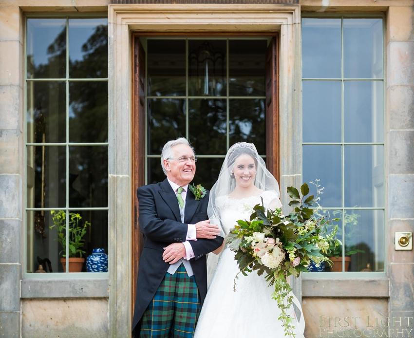 Wedding dress, wedding flowers, bride and dad