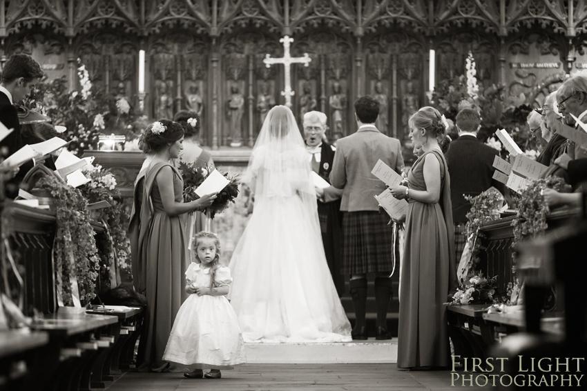 Wedding in church, bridesmaid, wedding dress