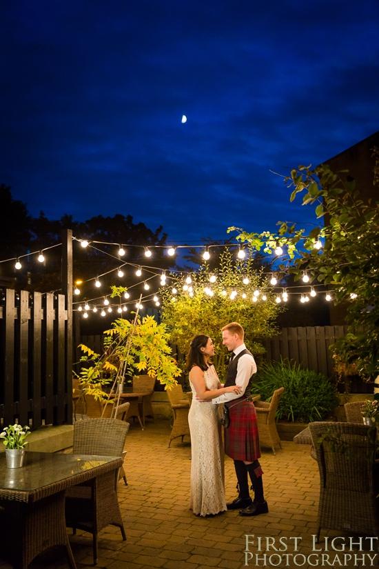 Nighttime portrait, wedding photographer Scotland